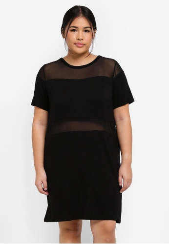 MISSGUIDED black Plus Size Mesh Insert Oversized Dress CC575AAA311DAAGS_1