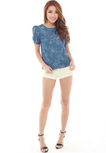 Sophialuv blue Ayala Puff Sleeve Blouse in Light Denim 94385AA1924E44GS_1