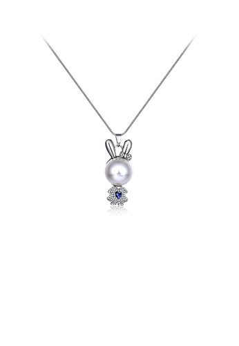 Glamorousky white Cute Rabbit Pendant with Fashion Pearl and Austrian Element Crystal and Necklace D0E61AC145D290GS_1