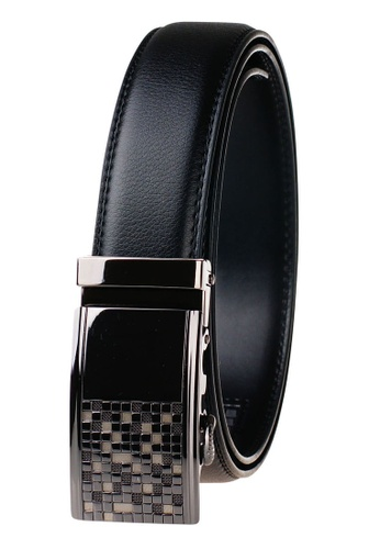 FANYU black Leather Dress Belt With Automatic Buckle 9A2BAAC11C7159GS_1