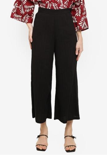 ZALIA BASICS 黑色 Textured Culottes Pants 10CE4AA5999F97GS_1