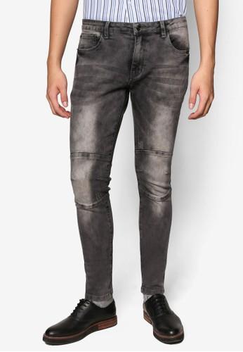 漂白膝部縫合窄管牛仔esprit taiwan褲, 服飾, 牛仔褲