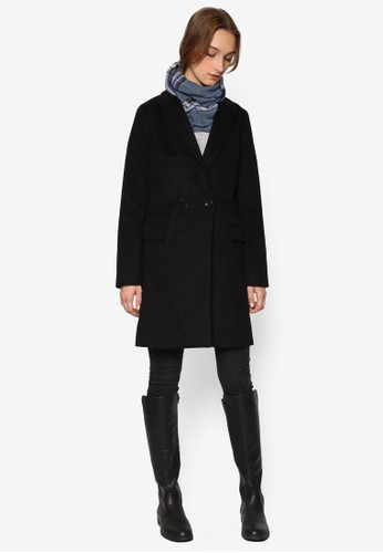 esprit outlet 桃園雙鈕羊毛長版外套, 服飾, 外套