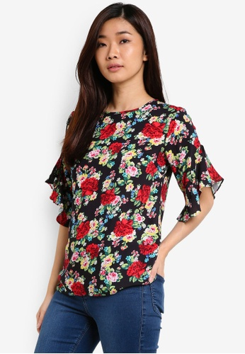 Dorothy Perkins black and multi Black Floral Ruffle Tee DO816AA72UTRMY_1