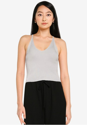 ZALORA BASICS grey Fitted Knit Strap Top 91D63AA368CA09GS_1