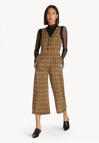 839809bdcf Pomelo brown Sleeveless Cropped Tartan Jumpsuit - Brown 0069BAAB909E48GS 1