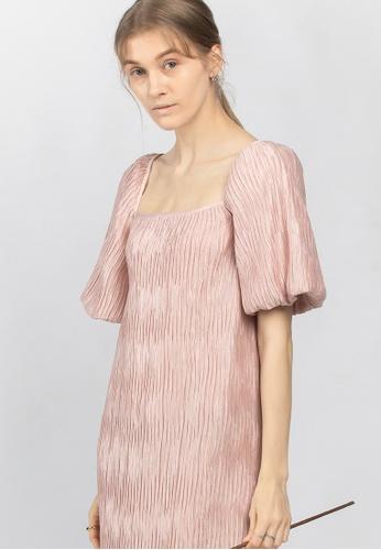 TAV pink [Korean Designer Brand] Volume Pleats Dress - Pink C499DAA41891B3GS_1