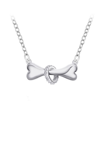 Glamorousky white Fashion Simple Dog Bone Necklace with Cubic Zircon 11486ACB3D9C6DGS_1