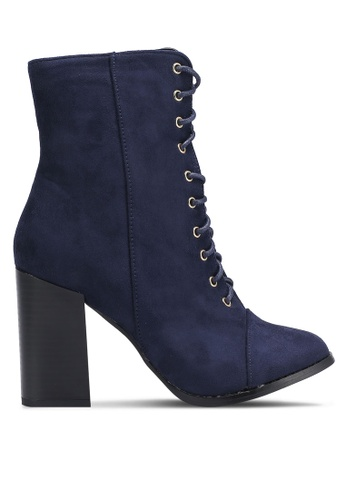 Something Borrowed blue Suede Lace Up Bootie Heels D6F17ZZBB2C008GS_1