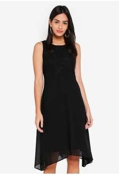 Psst... we have already received your request. Wallis. Petite Black Lace  Top Fit   Flare Dress f5693fa65