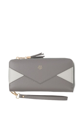 Wild Channel grey Faux Leather Long Wallet 247C8ACF14CC49GS_1