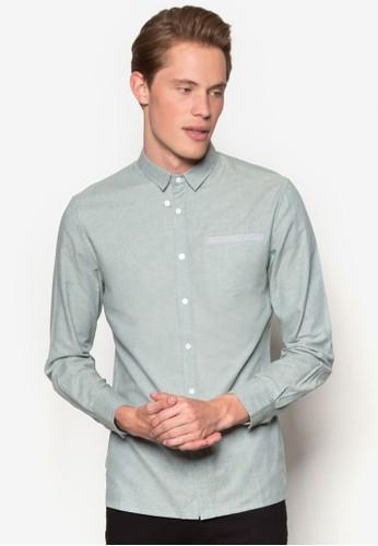 拼色口袋牛津長袖襯衫、 服飾、 襯衫ZALORA拼色口袋牛津長袖襯衫最新折價