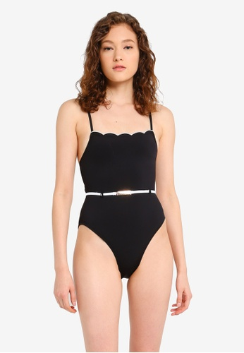 8765f9e3f6 Buy River Island Scallop Edge Belted Swimsuit Online | ZALORA Malaysia