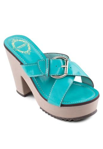 扣環交叉帶粗跟涼鞋, 女鞋, esprit旗艦店鞋