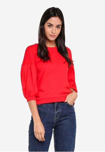 ONLY red Kamma 3/4 Balloon O-Neck Sweater AA9E1AA7DA067AGS_1