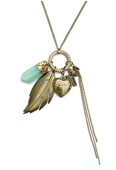 Feather Heart Faux Crystal Cross Crucifix Tassel Necklace