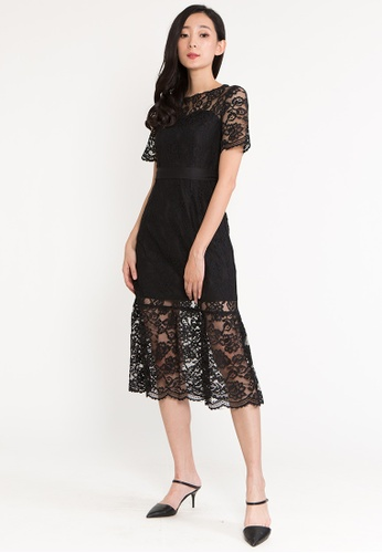 BEBEBUTTERFLY black BebeButterfly Round Neckline Lace With Lining Cocktail Evening Midi Dinner Dress C84A4AADFCDCB7GS_1