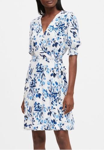 Banana Republic blue Print Wrap Mini Dress 036FDAA7F012CDGS_1