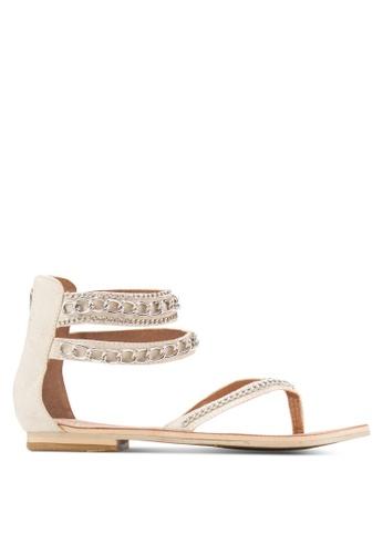 Sulima gold and beige Cream Chain Sandals SU915SH75TIMMY_1