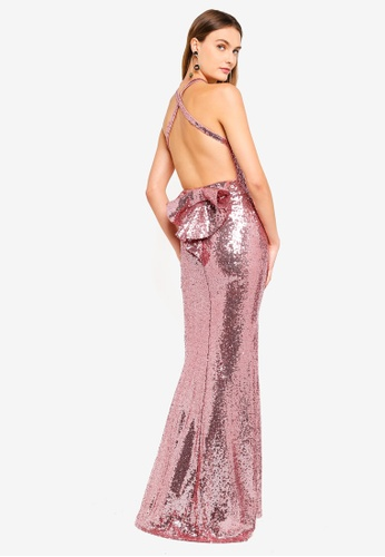 Goddiva pink Bow Detail Sequin Maxi Dress 4B296AA5D55EBFGS_1