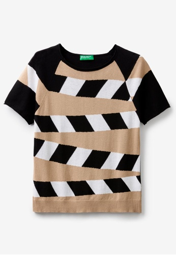 United Colors of Benetton brown Printed Knit Sweater D80EAAA8518F0CGS_1
