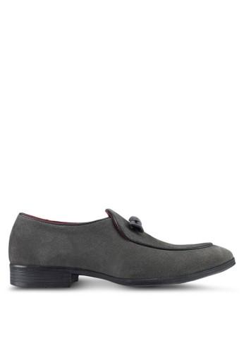 Acuto grey Leather Loafers AC283SH0SL5MMY_1