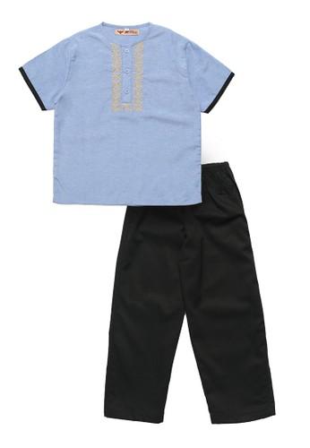 2nd Red Kids blue Setelan Pakaian Anak Laki Bordir Chambray C6A05AA7ED296FGS_1
