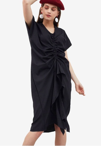 Berrybenka black Gustava Gathered Dress 0A584AA1568E72GS_1