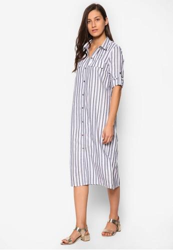 條紋襯衫式及膝連身裙、 服飾、 洋裝SomethingBorrowed條紋襯衫式及膝連身裙最新折價