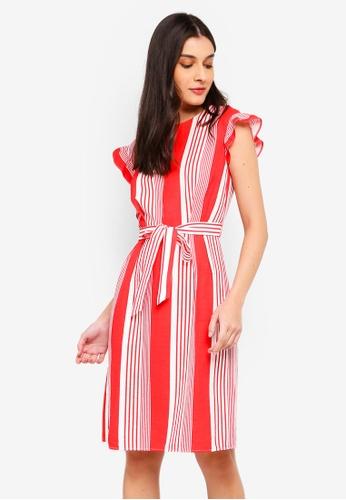 ZALORA white and red Self Tie Shift Dress 5E3F9AA45A75BBGS_1