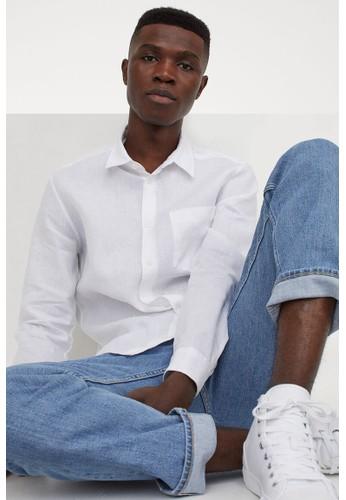 H&M white Regular Fit Linen shirt 932ABAA714E2C3GS_1