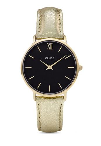 Minuit CL30037 esprit outlet 台中奢華真皮帶圓錶, 錶類, 飾品配件