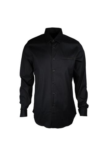 PRADA navy Prada Pocket On Chest Stretch Shirt in Blue 0DC38AAB2AE326GS_1