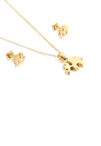 Glamorousky 白色 簡約時尚鍍金色大象316L鋼項鏈和耳釘套裝 553AFAC46AD69CGS_1