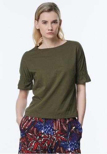 Sisley green Flare Sleeves Blouse. E238FAA38480A1GS_1