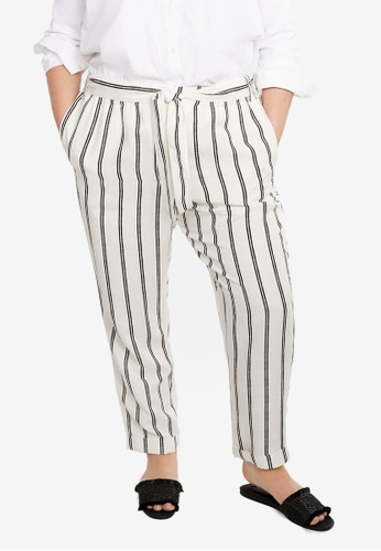 double coupon best quality for great quality Plus Size Striped Linen-Blend Trousers