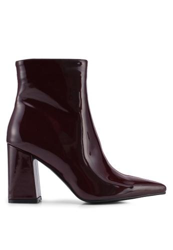 Public Desire red Chaos Colour Block Point Toe Ankle Boots E1F96SH0C0BBC7GS_1