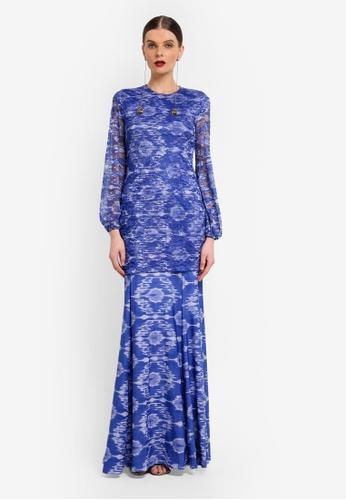 Rizalman for Zalora white and blue Slim Jersey Kurung RI909AA0SF0WMY_1