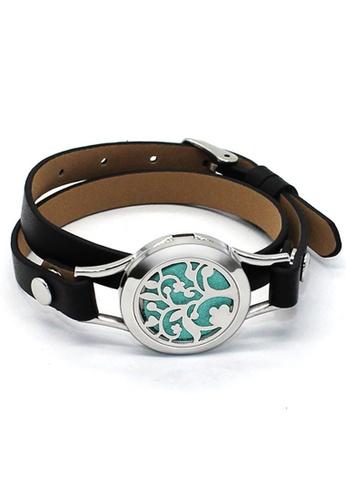 YOUNIQ YOUNIQ 316L S.Steel Silver Aroma Oil Magnet Double Leather Bracelet - 2 Colours 37152ACD7E56E4GS_1