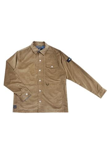 East Pole brown Men's Corduroy Multi Pockets Collar Shirt Jacket 4F6FDAA11C44AAGS_1