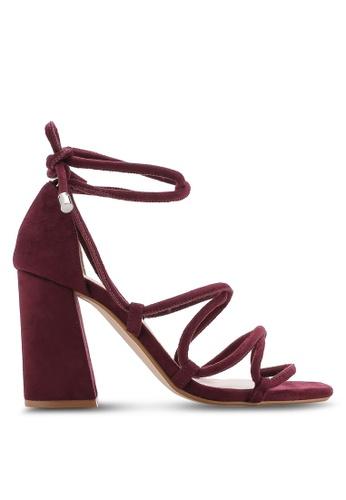 ZALORA 紅色 露趾繞踝粗跟鞋 7F403SHC4D47B4GS_1