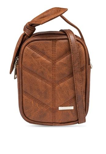 Verchini brown Mini Sling Bag with Bow 166DBACCCE8A74GS_1