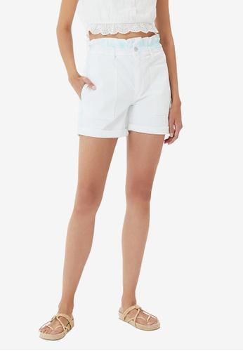 Trendyol white Tie-Dye Washed Denim Shorts 9BE5DAA26F8147GS_1