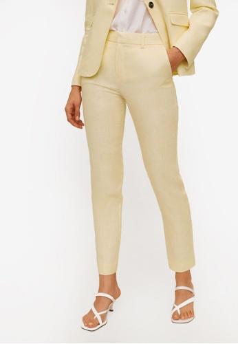 Mango yellow Linen Trousers 4D872AA1FCB07FGS_1