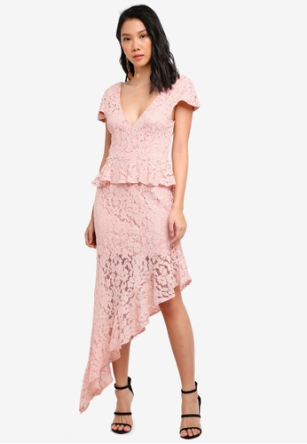 MISSGUIDED pink Lace Vneck Asymetric Hem Midi Dress 87534AAA9FB0C4GS_1