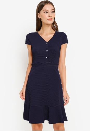 ZALORA WORK navy Textured Knit Fit & Flare Dress 3380CAA87552A7GS_1