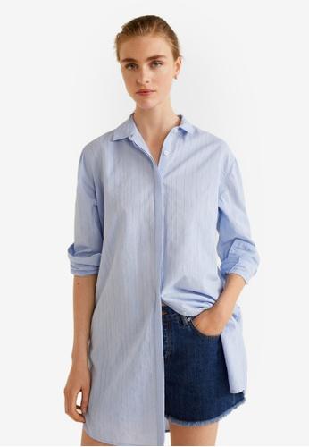 Mango blue Striped Cotton Shirt 7ABF0AA1A3818CGS_1