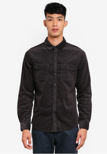 Cotton On 黑色 長袖口袋襯衫 FCF5EAA14BB56AGS_1