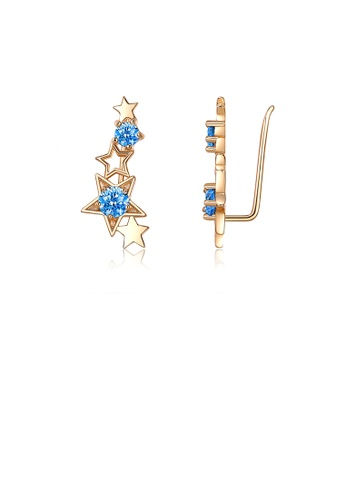 Glamorousky blue Simple and Fashion Plated Gold Star Earrings with Blue Cubic Zirconia FEC8BACC8464D0GS_1