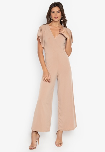142a0dcd109 Ashley Collection beige V-Overlap Ruffle Sleeve Jumpsuit 84527AA45520C5GS 1